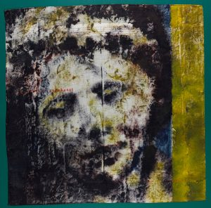 Image shows a face, painted in an impressionistic style, on a black background. The right hand side of the image has a band of yellowy-green from the top to the bottom.